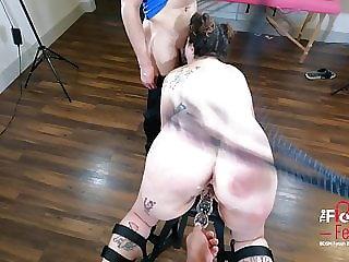 Electro BDSM of thick Latina Bondage Face Fucked