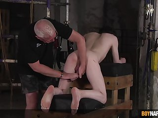 Energized young boy ass fucked by his dominant step dad in gay  BDSM