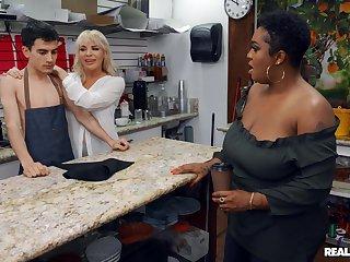 Boss bitch Dana Dearmond and customer Layton Benton share a dorky barista
